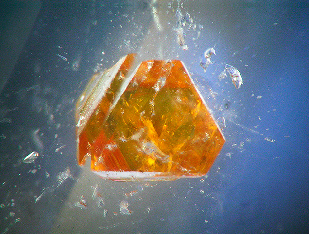 Microlite crystal in a topaz from Pakistan.