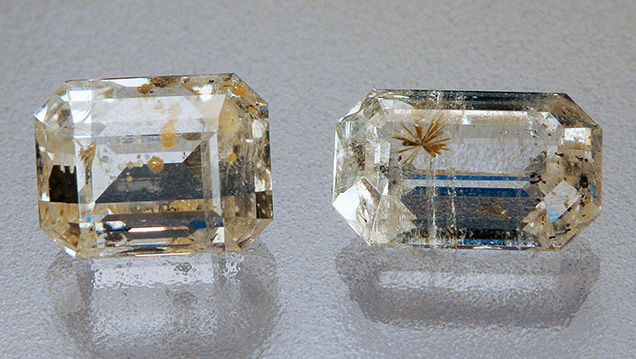 Phenakite with tusionite (left, 1.77 ct) and perettiite-(Y) inclusions (right, 2.31 ct).