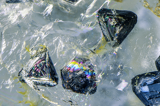 Raman analysis identified the crystals as quartz.