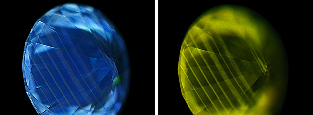 DiamondView images showing fluorescence (left) and phosphorescence (right).