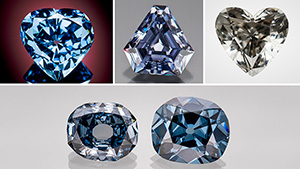 Recently discovered and legendary diamonds in the blue/gray/violet color range