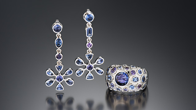 Suite of Yogo sapphire jewelry
