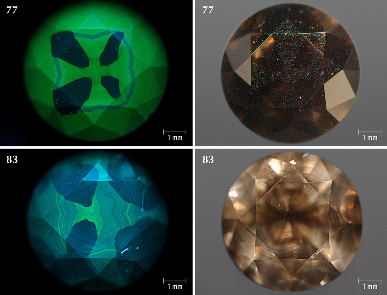 DiamondView images and photos of Marange diamonds colored exclusively by graphite micro-inclusions