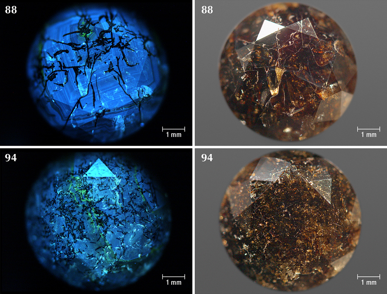 DiamondView images and photos of Marange diamonds that show radiation stains within fractures