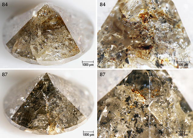 Marange diamonds that are lightly colored by brown radiation stains but also contain graphite needles
