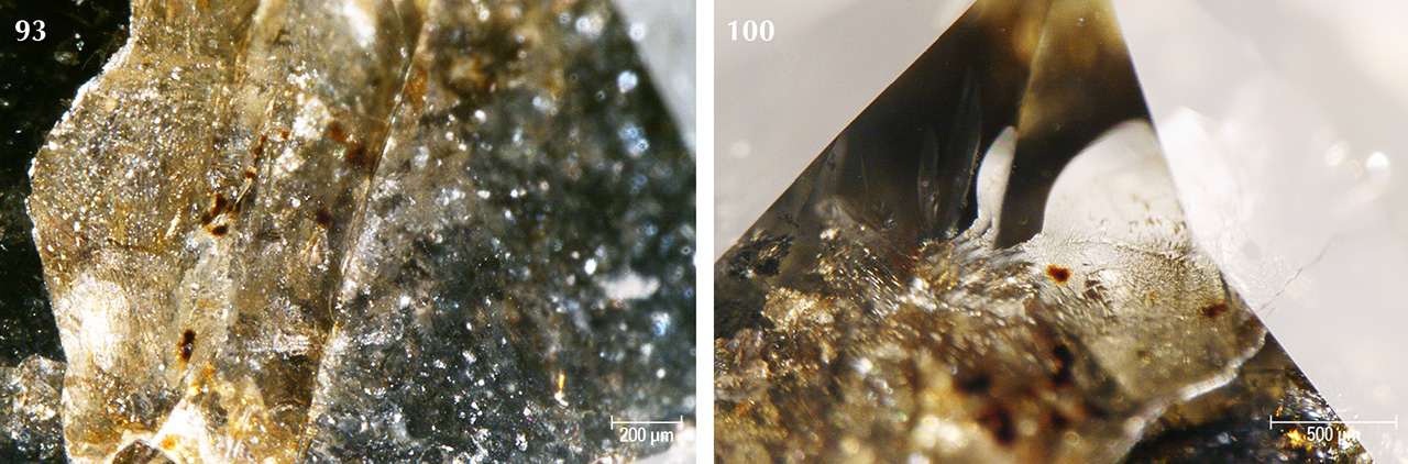 Individual brown radiation stains visible within fractures in Marange diamonds