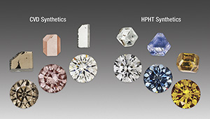 CVD- and HPHT-grown synthetic diamonds.