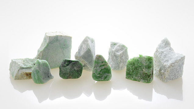 Jadeite from Levoketchpel (back row) and Polar Urals (front row).