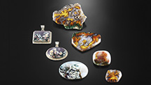 """Iranian plume agate in """"spring"""" and """"autumn"""" varieties."""