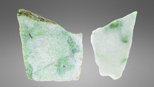 Jadeite measuring 3.4 cm and 1.8 cm wide.