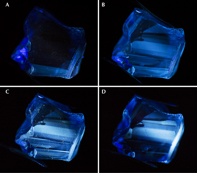Short-wave UV fluorescence reaction of a Madagascar sapphire during heating