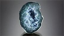 Tabasco geode featuring greenish blue botryoidal chalcedony.