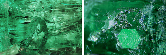 Well-formed emerald inclusion in a hexagonal shape (left and right).