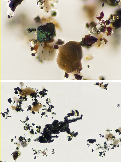 Magnetite, fluorite, and annite/phlogopite inclusions (top) and wolframoixiolite, fluorite, and mica inclusions (bottom).