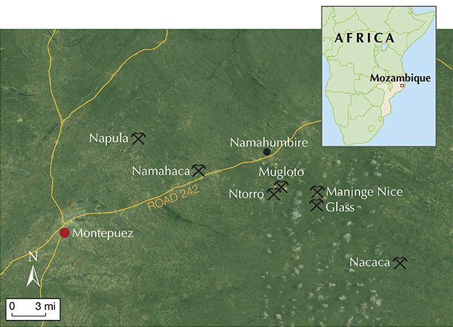 Map of main ruby mining areas around Montepuez, Mozambique