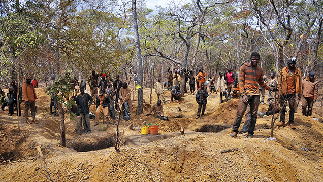 Group of miners at their workings near Montepuez, Mozambique