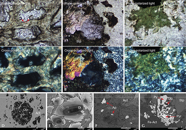 Polarized optical and BSE images of black nephrite from Guangxi