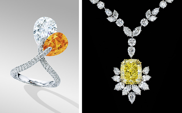 Intensely orange and yellow diamonds sold at auction
