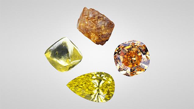 Yellow and orange diamonds