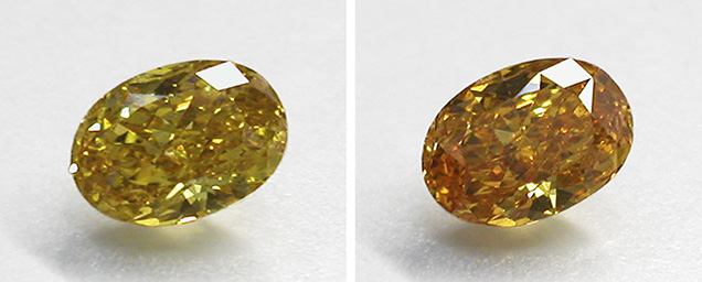 Temporary color change in diamond colored by 480 nm band