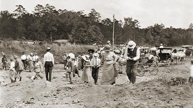 Diamond prospecting, circa 1908, at what is now Crater of Diamonds State Park.