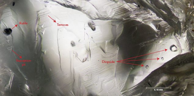 Dissolution surface features and inclusions of rutile and diopside in diamond.