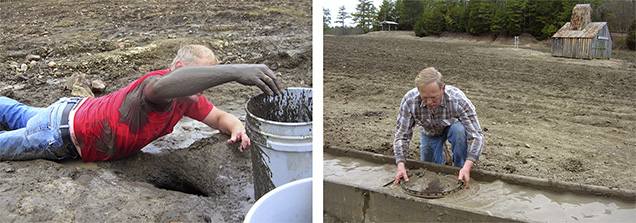 Digging for diamond ore and sieving.