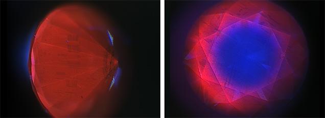 DiamondView fluorescence images of the irradiated blue diamond.