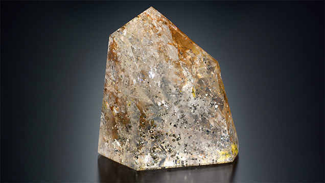 Colombian quartz with pyrite inclusions.