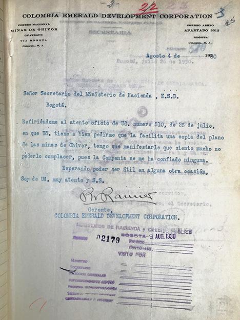 1930 letter from Peter Rainier