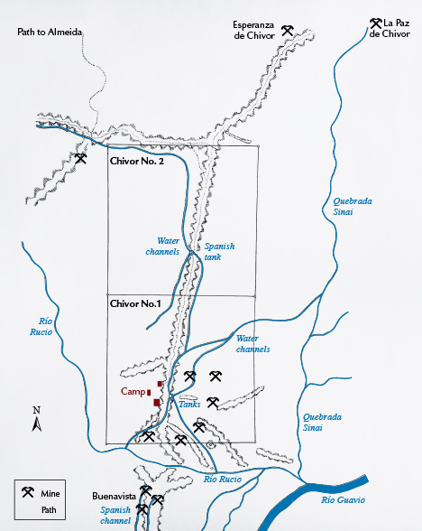 Chivor 1 and 2 mining claims map from 1941