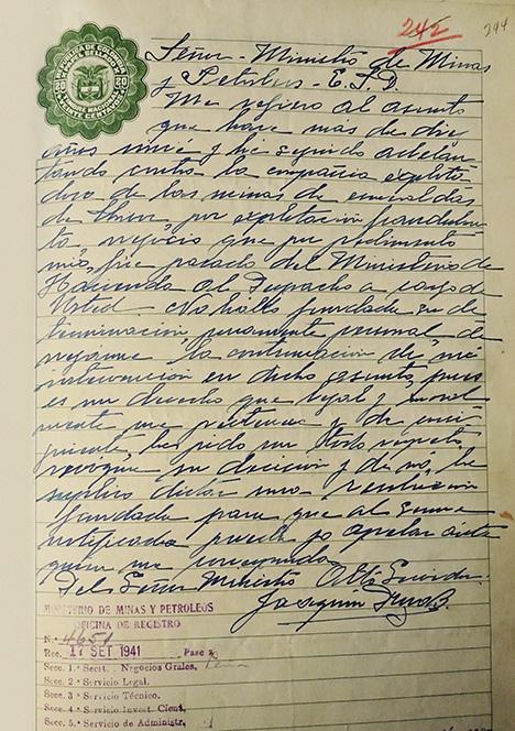 Letter from Joaquín Daza
