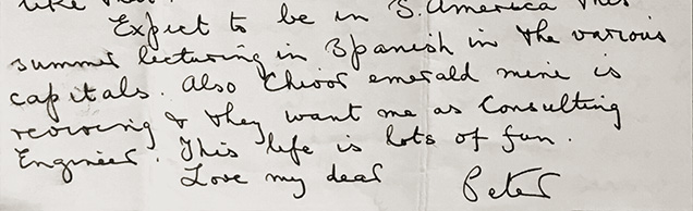 letter from Peter Rainier