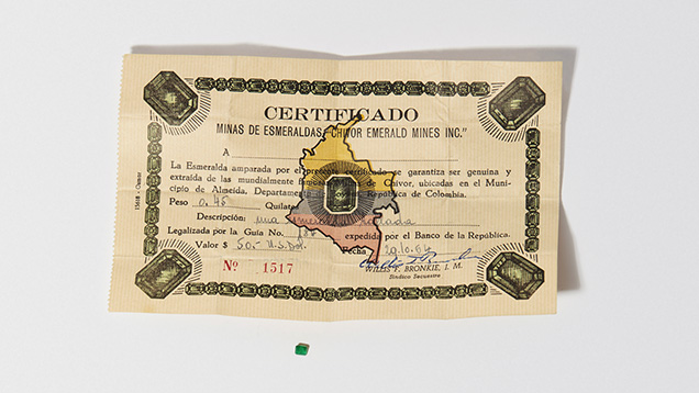 1964 Certificate for a faceted emerald from Chivor