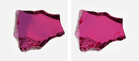 Mozambican ruby before and after heat treatment