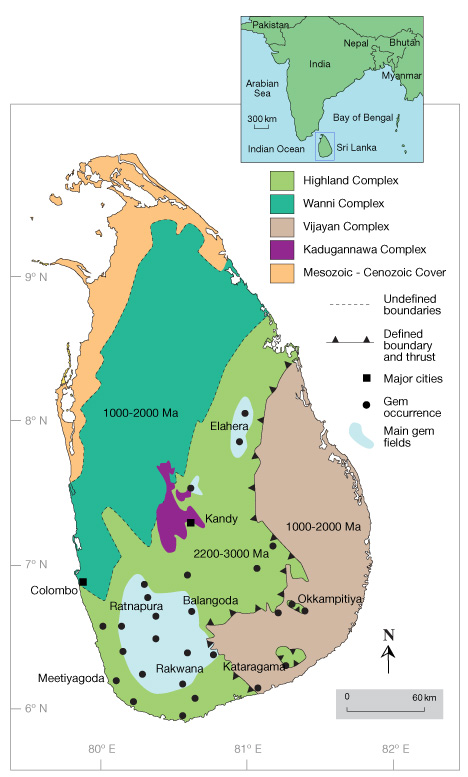Map of gem deposit areas in Sri Lanka
