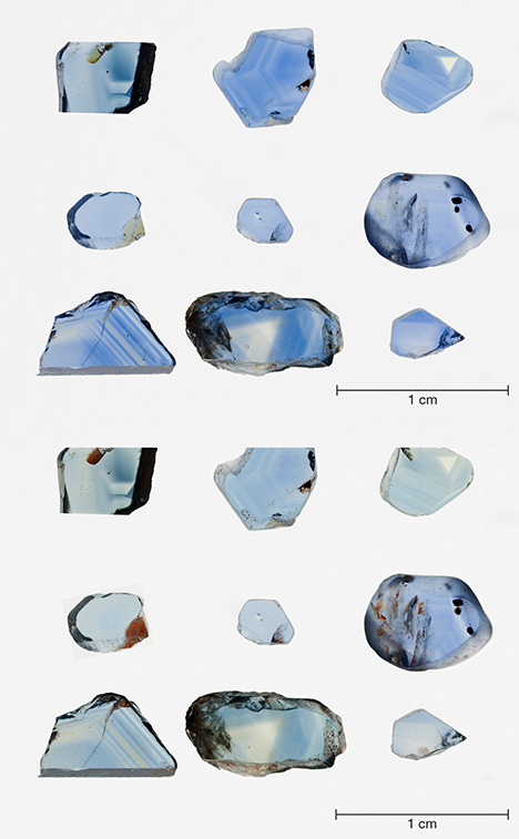 Basalt-related blue sapphires before and after heating