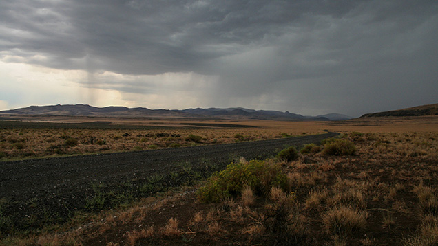 A view along Hogback road near the Plush sunstone area, not far from the Dust Devil mine. There was a downpour a little after this photo was taken.