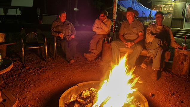 Campfire at Ponderosa Sunstone Mine