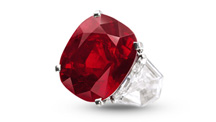 The 25.59 ct. Sunset Ruby, set in a ring by Cartier, drew a price of $30.3 million at Sotheby's Geneva sale; the highest price ever paid for a ruby at auction and the highest per-carat price (nearly $1.2 million) ever paid for a ruby. Courtesy of Sotheby's.