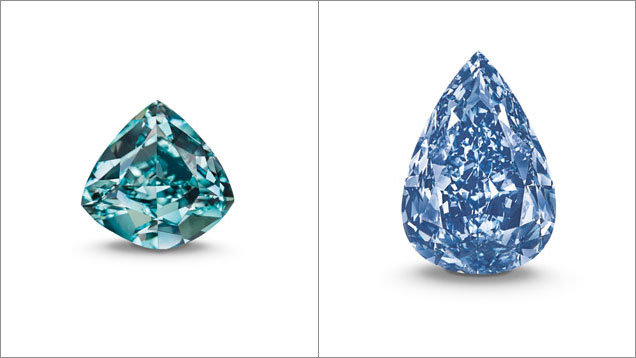 The 5.5 ct Ocean Dream, left, a Fancy Vivid blue-green diamond, sold for $1.4 million per carat, a record for a diamond of that color. The 13.22 ct Winston Blue, right, graded by GIA, sold for $1.8 million per carat, the highest price ever paid for a Fancy Vivid blue diamond of flawless clarity. Photo courtesy of Christie's.