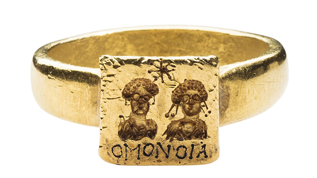 Byzantine engraved gold marriage ring.