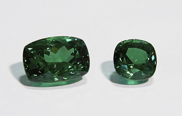 Cushion-cut and square cushion-cut tsavorites.