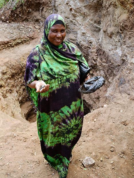 Miriam Mshana, an artisanal sapphire miner in Tanzania