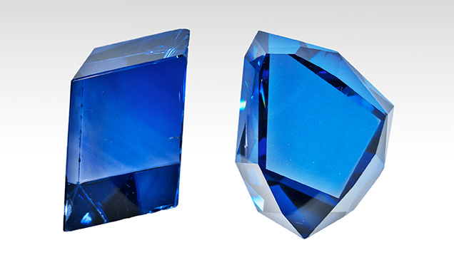 The Grand Sapphire and a replica of the Tavernier Blue diamond