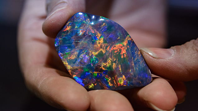 Black seam opal in claystone