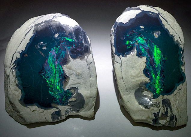 Spectacular black opal nobbies