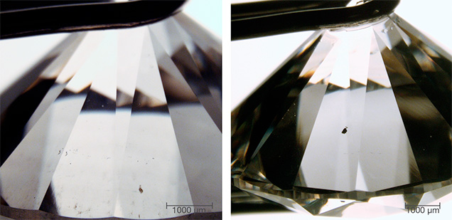 Inclusions in large CVD synthetic diamonds