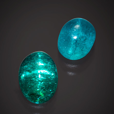 Two Paraíba tourmalines showing asterism