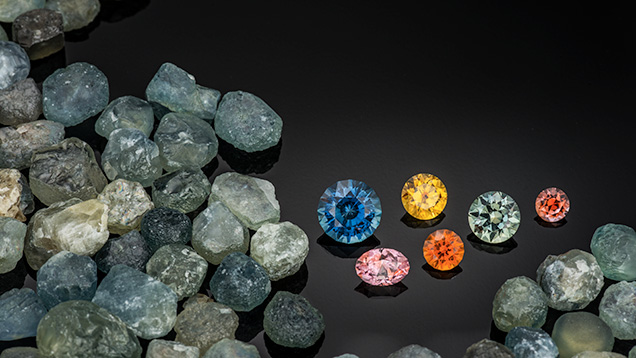 Rough and cut alluvial Montana sapphires